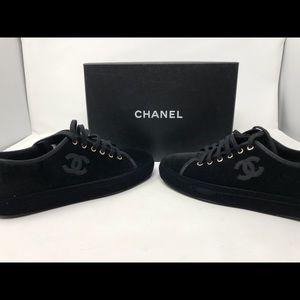 CHANEL Black Velvet Sneakers